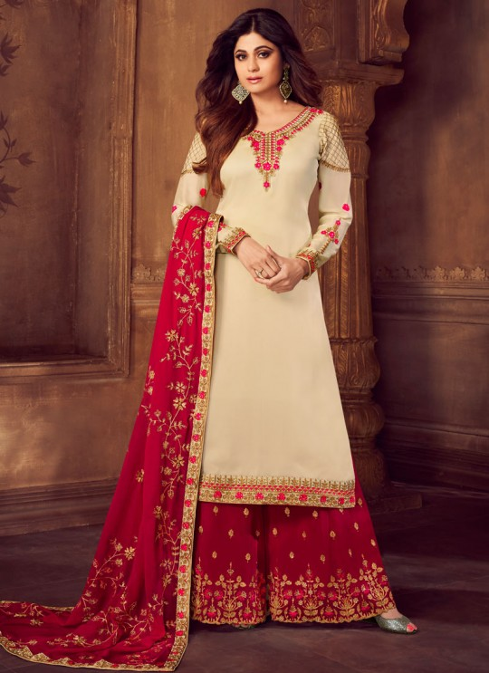 Pure Georgette Embroidered Palazzo Suits For Ring Ceremony In Cream Color Falak 8213 By Aashirwad Creation SC/015428