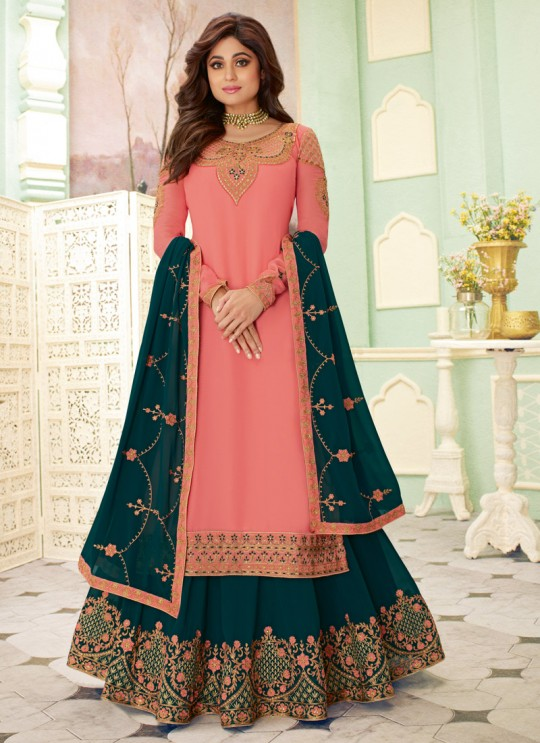 Peach Wedding Wear Embroidered Lehenga Dress Fizza 7118 By Aashirwad SC-017683