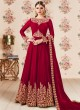 Maroon Georgette Embroidered Eid Wear Floor Length Anarkali Gold 8106A Color By Aashirwad Creation SC/014274