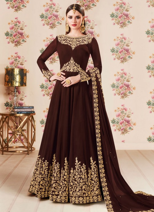 Brown Georgette Embroidered Eid Wear Floor Length Anarkali Gold 8106C Color By Aashirwad Creation SC/014276