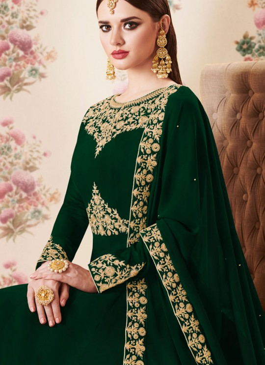 Green Georgette Embroidered Eid Wear Floor Length Anarkali Gold 8106D Color By Aashirwad Creation SC/014277