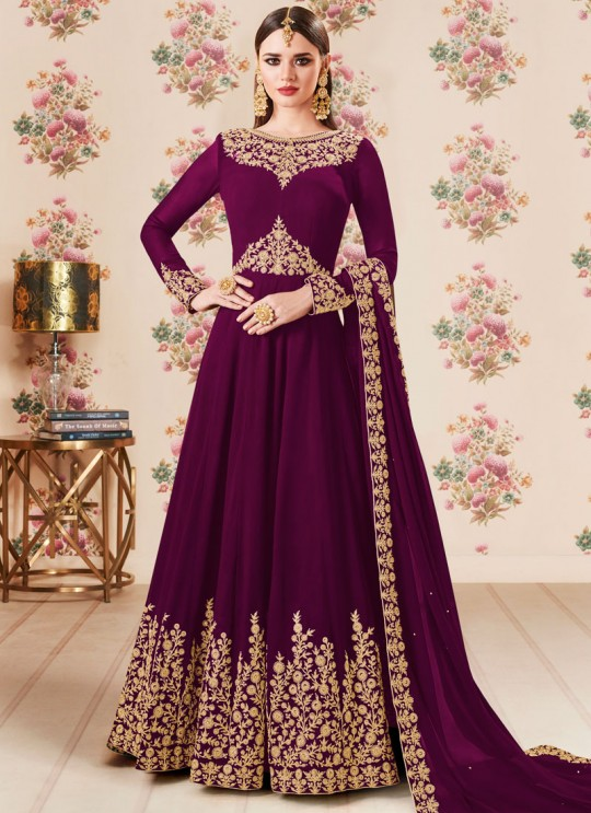 Purple Georgette Embroidered Eid Wear Floor Length Anarkali Gold 8106E Color By Aashirwad Creation SC/014278