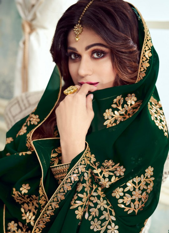 Green Georgette Embroidered Skirt Kameez For Mehandi Ceremony Gota Pati 8230 By Aashirwad Creation SC/015311