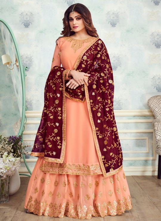Peach Georgette Embroidered Skirt Kameez For Mehandi Ceremony Gota Pati 8232 By Aashirwad Creation SC/015313
