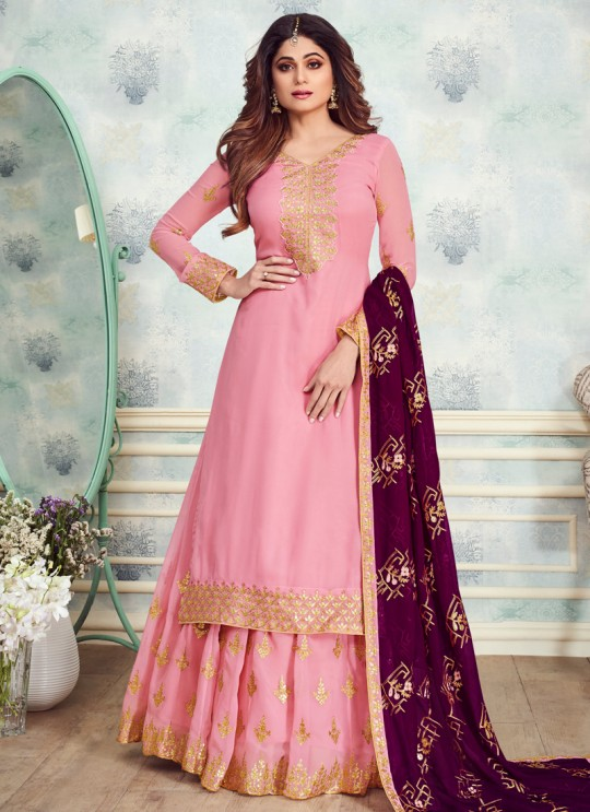 Pink Georgette Embroidered Skirt Kameez For Mehandi Ceremony Gota Pati 8233 By Aashirwad Creation SC/015314