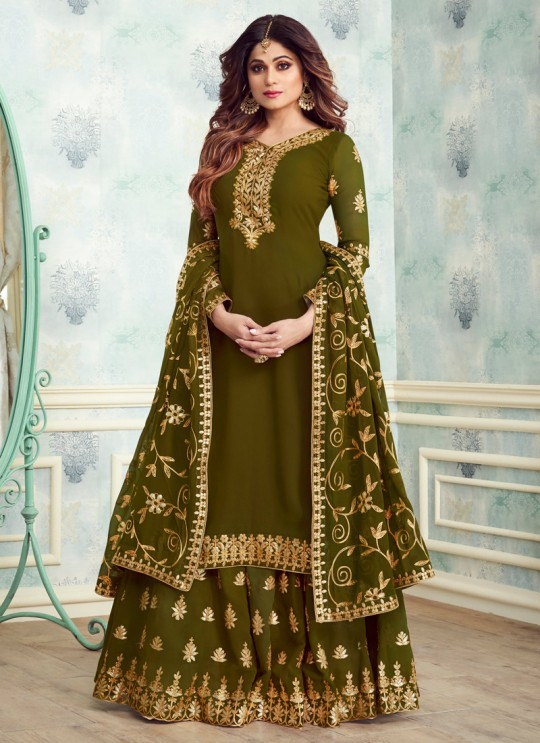 Green Georgette Embroidered Skirt Kameez For Mehandi Ceremony Gota Pati 8234 By Aashirwad Creation SC/015315