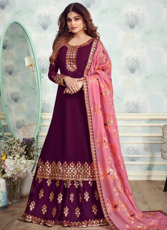 Purple Georgette Embroidered Skirt Kameez For Mehandi Ceremony Gota Pati 8235 By Aashirwad Creation SC/015316