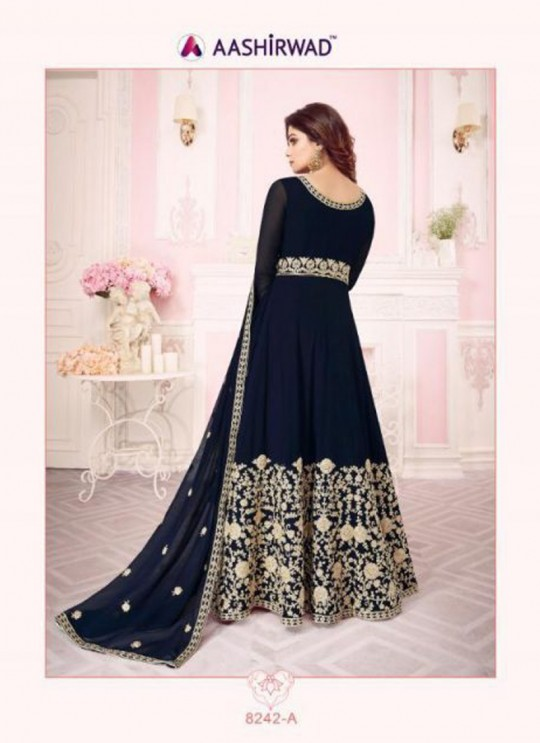 Nevy Blue Georgette Embroidered Floor Length Anarkali For Ring Ceremony Gulab 8242 Colours 8242A By Aashirwad Creation SC/015288