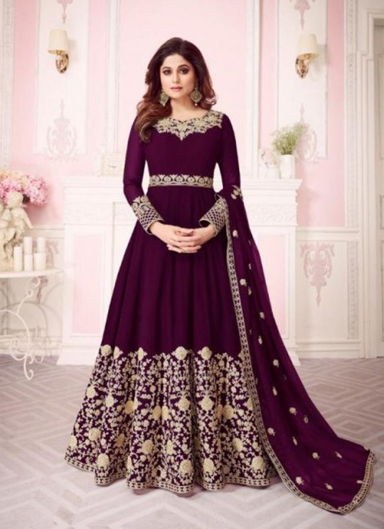 Wine Georgette Embroidered Floor Length Anarkali For Ring Ceremony Gulab 8242 Colours 8242B By Aashirwad Creation SC/015289