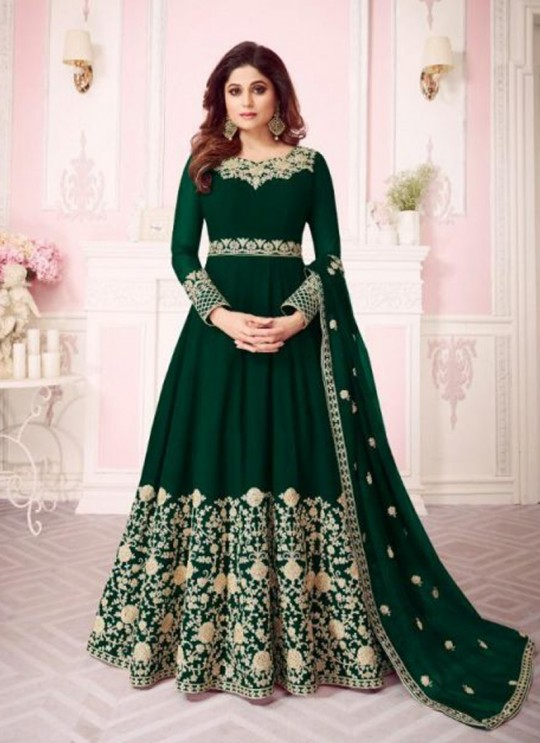 Green Georgette Embroidered Floor Length Anarkali For Ring Ceremony Gulab 8242 Colours 8242C By Aashirwad Creation SC/015290