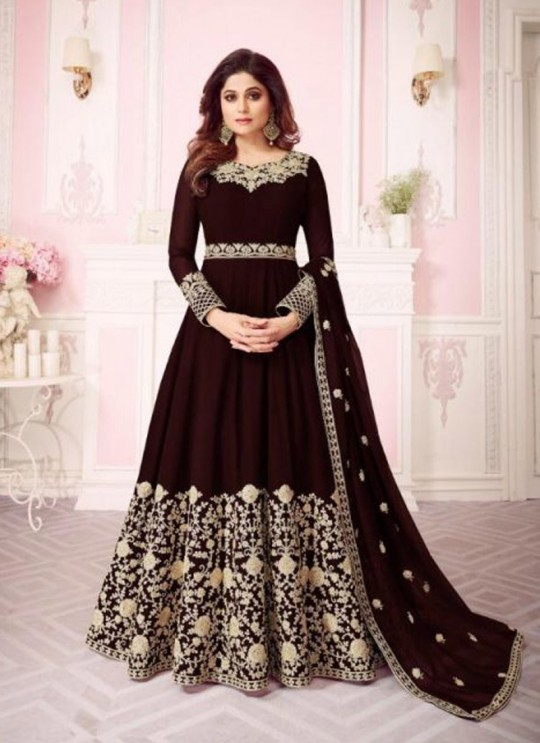 Brown Georgette Embroidered Floor Length Anarkali For Ring Ceremony Gulab 8242 Colours 8242D By Aashirwad Creation SC/015291