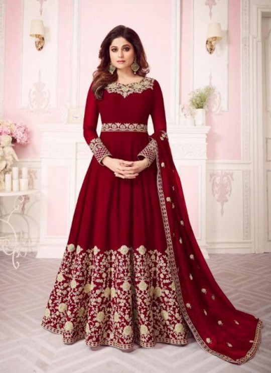 Red Georgette Embroidered Floor Length Anarkali For Ring Ceremony Gulab 8242 Colours 8242E By Aashirwad Creation SC/015292