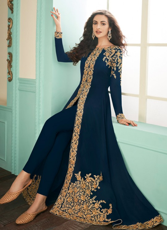 Faux Georgette Party Abaya Style Suit In Blue Color Gulkand Almirah 7071 SC/017135
