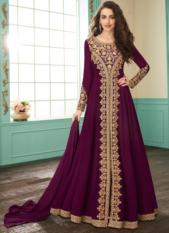 Faux Georgette Party Abaya Style Suit In Wine Color Gulkand Almirah 7072 SC/017136