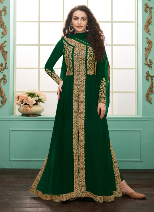 Faux Georgette Party Abaya Style Suit In Green Color Gulkand Almirah 7073 SC/017137