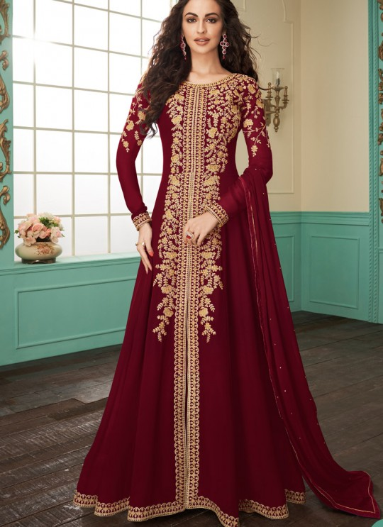Faux Georgette Party Abaya Style Suit In Maroon Color Gulkand Almirah 7074 SC/017138