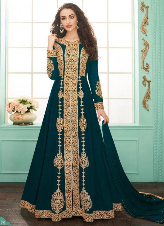 Faux Georgette Party Abaya Style Suit In Teal Blue Color Gulkand Almirah 7075 SC/017139