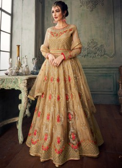752371a3cd Beige Net Embroidered Ceremony Floor Length Anarkali Jannat 8216 By Aashirwad  Creation SC/015092