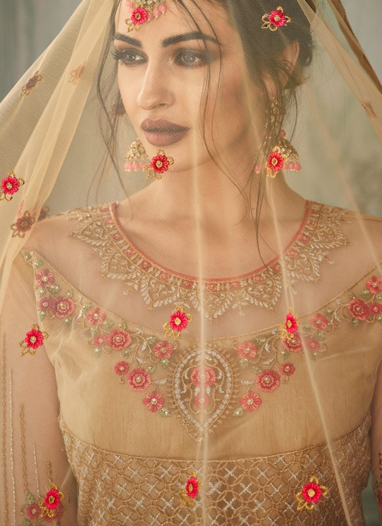 Beige Net Embroidered Ceremony Floor Length Anarkali Jannat 8216 By Aashirwad Creation SC/015092