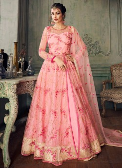172fd741c6 Pink Net Embroidered Ceremony Floor Length Anarkali Jannat 8217 By Aashirwad  Creation SC/015093