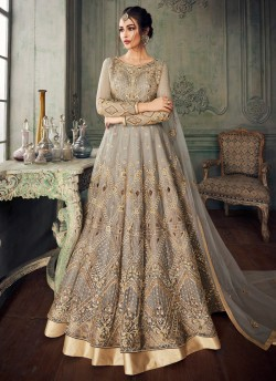 4786bc67d7 Grey Net Embroidered Ceremony Floor Length Anarkali Jannat 8218 By Aashirwad  Creation SC/015094