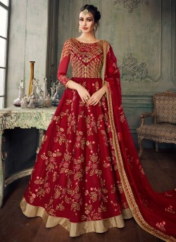 bb265e4059 Red Net Embroidered Ceremony Floor Length Anarkali Jannat 8219 By Aashirwad  Creation SC/015095