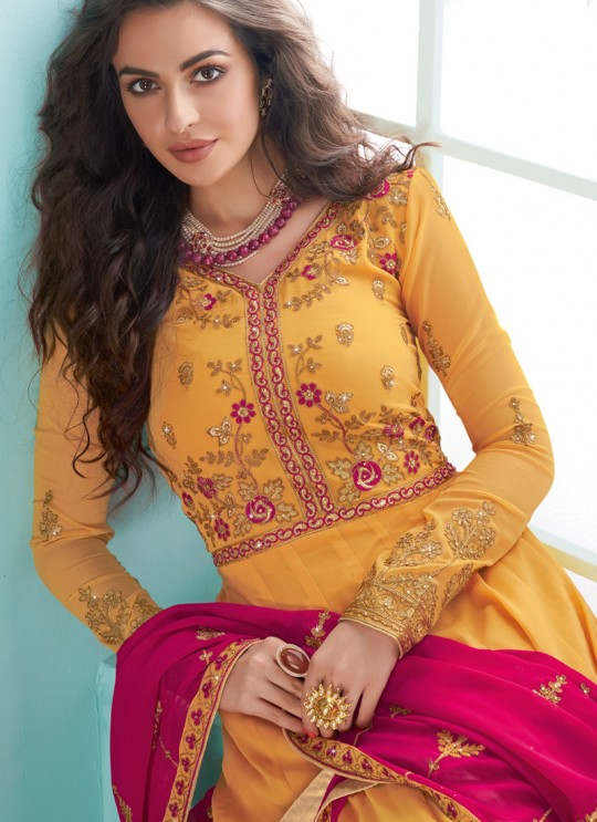 Yellow Georgette Abaya Style Suits Karishma  By Aashirwad Creation 7078