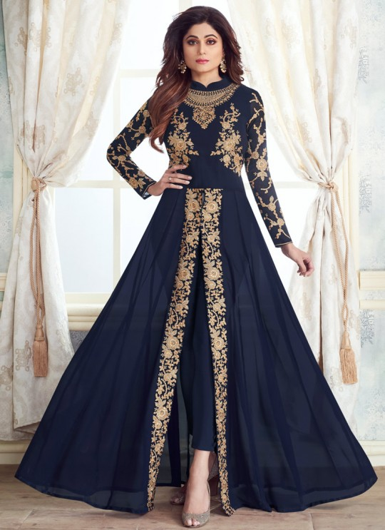 Pure Georgette Party Wear Anarkali Style Suit In Blue Color Kasa Gold 8214A Color By Aashirwad SC/015645