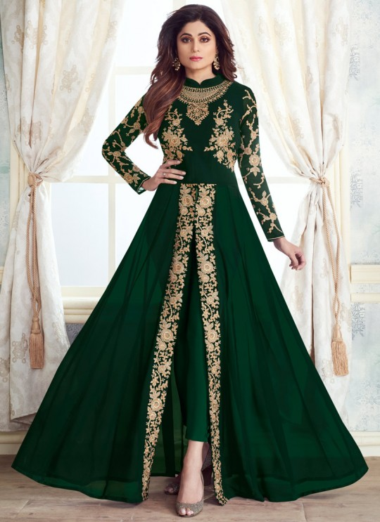 Latest Georgette Anarkali Style Suit For Indian Parties In Green Color Kasa Gold 8214D Color By Aashirwad SC/015648