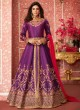 Purple Silk Embroidered Floor Length Anarkali Lihaaz 8291 By Aashirwad