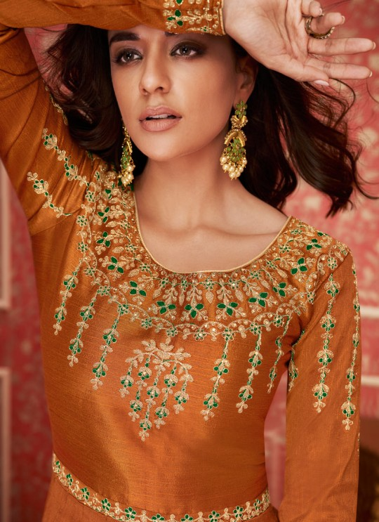 Orange Silk Embroidered Floor Length Anarkali Lihaaz 8296 By Aashirwad