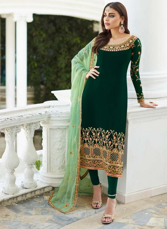 Green Georgette Embroidered Staight Cut Suits Mahira-3 7045 By Aashirwad  SC/016522