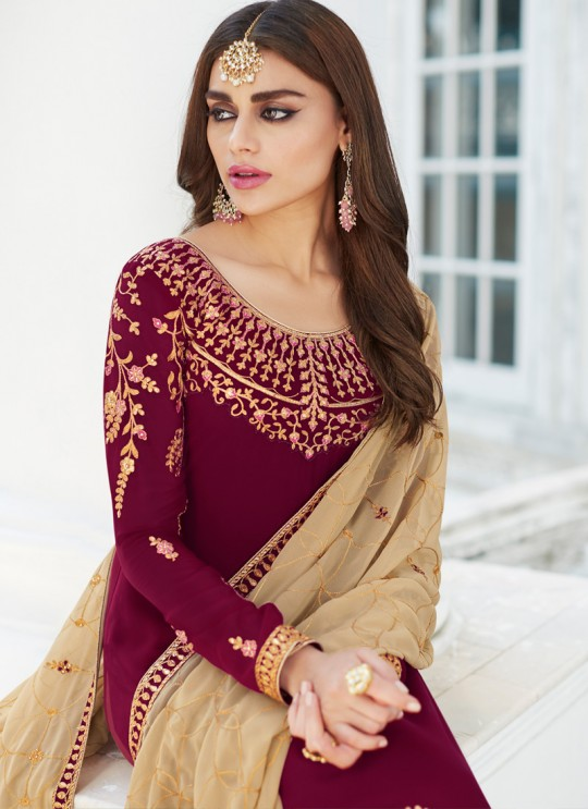 Maroon Georgette Embroidered Staight Cut Suits Mahira-3 7046 By Aashirwad  SC/016523