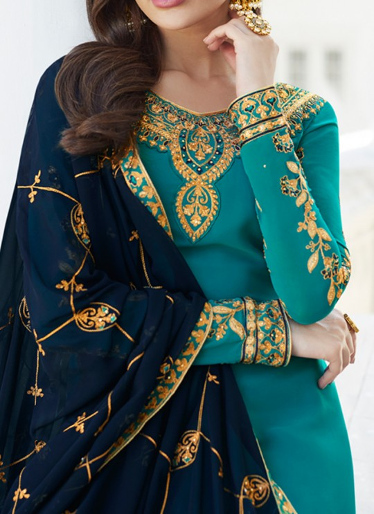 Firozi Georgette Embroidered Staight Cut Suits Mahira-3 7047 By Aashirwad  SC/016524