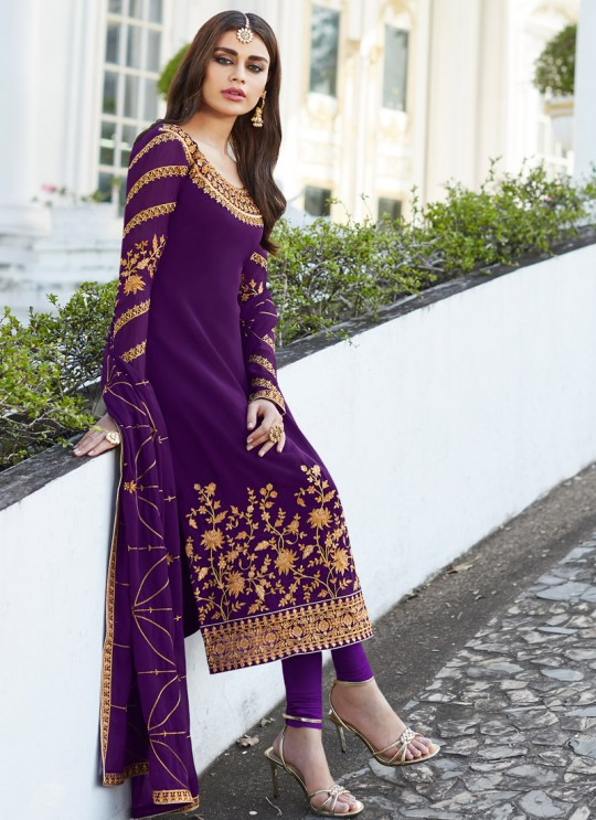 Violet Georgette Embroidered Staight Cut Suits Mahira-3 7048 By Aashirwad  SC/016525