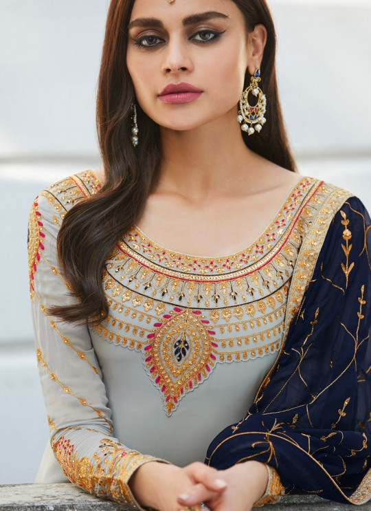 Grey Georgette Embroidered Staight Cut Suits Mahira-3 7049 By Aashirwad  SC/016526