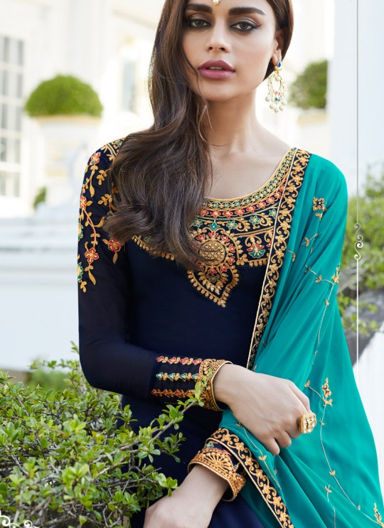 Royal Blue Georgette Embroidered Staight Cut Suits Mahira-3 7050 By Aashirwad  SC/016527