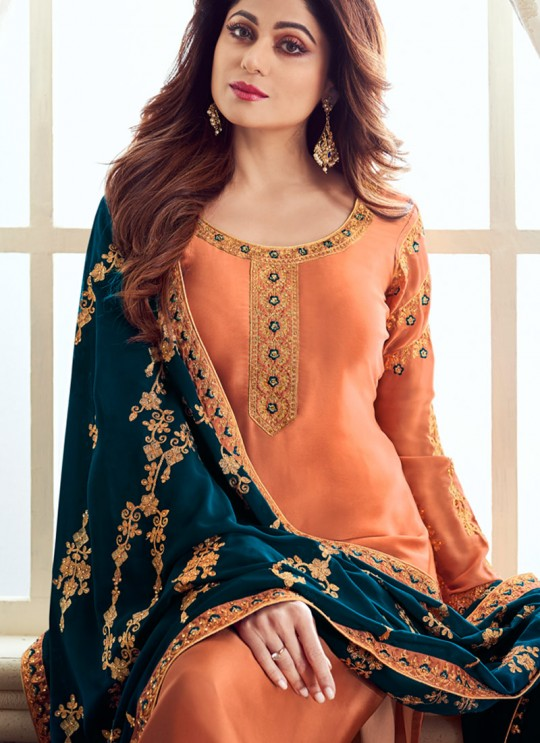 Pure Georgette Embroidered Churidar Suits Festival Wear In Peach Color Mahira Vol 2 8238 By Aashirwad Creation SC/015486