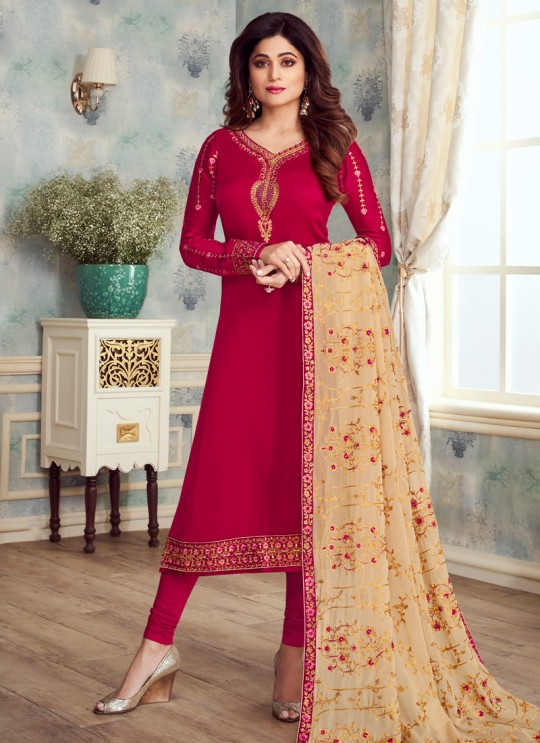 Pure Georgette Embroidered Churidar Suits Festival Wear In Magenta Color Mahira Vol 2 8236 By Aashirwad Creation SC/015484