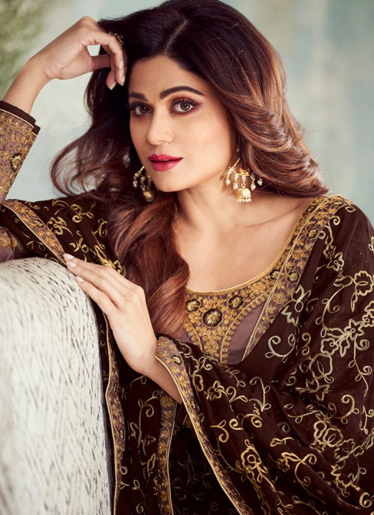 Pure Georgette Embroidered Churidar Suits Festival Wear In Brown Color Mahira Vol 2 8237 By Aashirwad Creation SC/015485