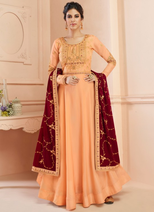 Tussar Silk Wedding Gown Style Anarkali In Peach Color Misty 7107 SC/017181