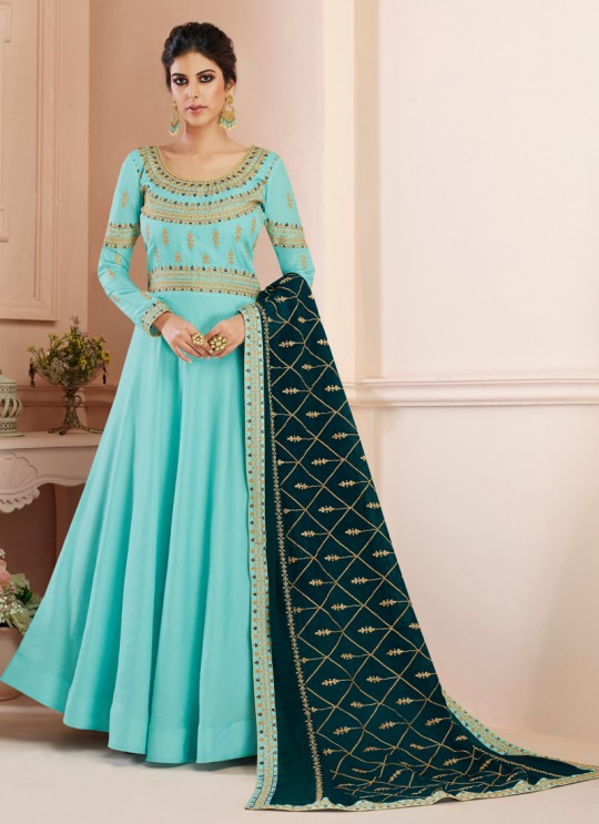 Tussar Silk Wedding Gown Style Anarkali In Turquoise Color Misty 7108 SC/017182