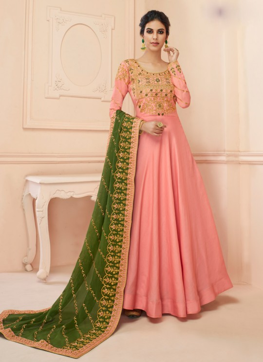 Tussar Silk Wedding Gown Style Anarkali In Pink Color Misty 7109 SC/017183
