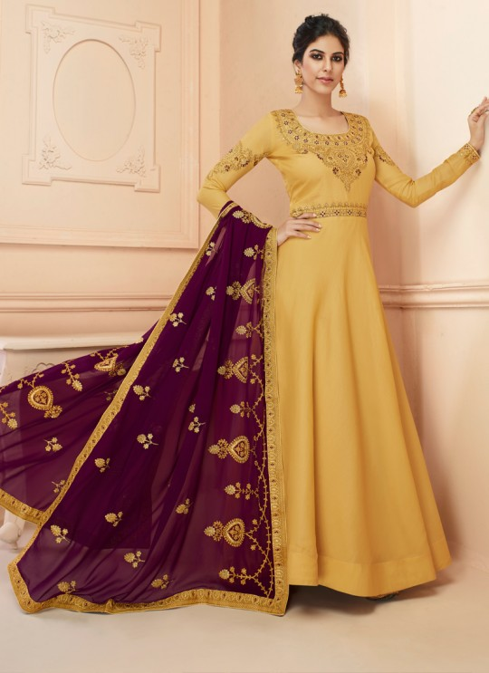 Tussar Silk Wedding Gown Style Anarkali In Yellow Color Misty 7110 SC/017184