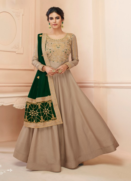 Tussar Silk Wedding Gown Style Anarkali In Beige Color Misty 7111 SC/017185