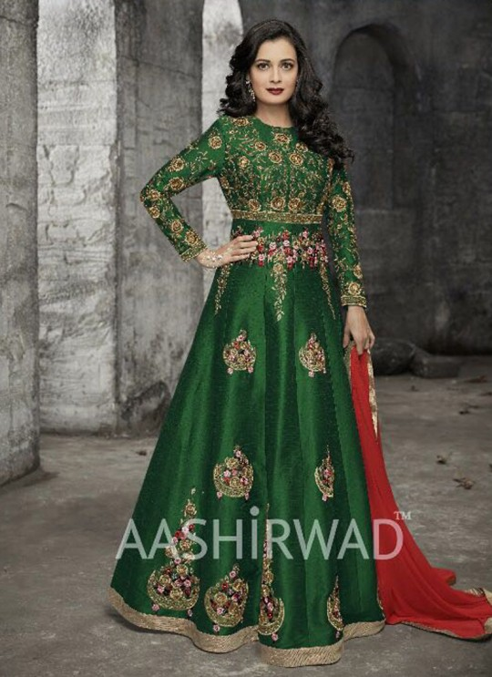 Silk Wedding Abaya Style Suits In Green Color Gulkand 10006 SC/005698