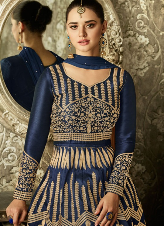Melbourne Silk Wedding Floor Length Anarkali In Blue Color SWARA 1004 SC/011502