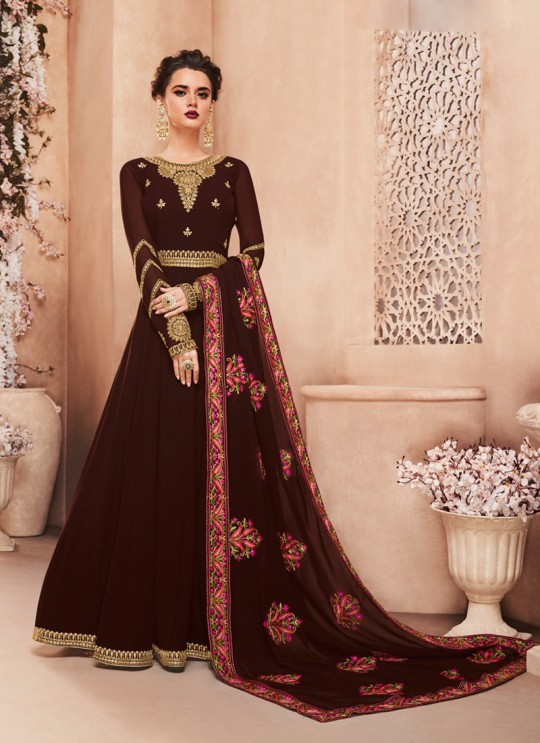 Georgette Ceremony Gown Style Anarkali In Brown Color Kashmira 8121 SC/013135
