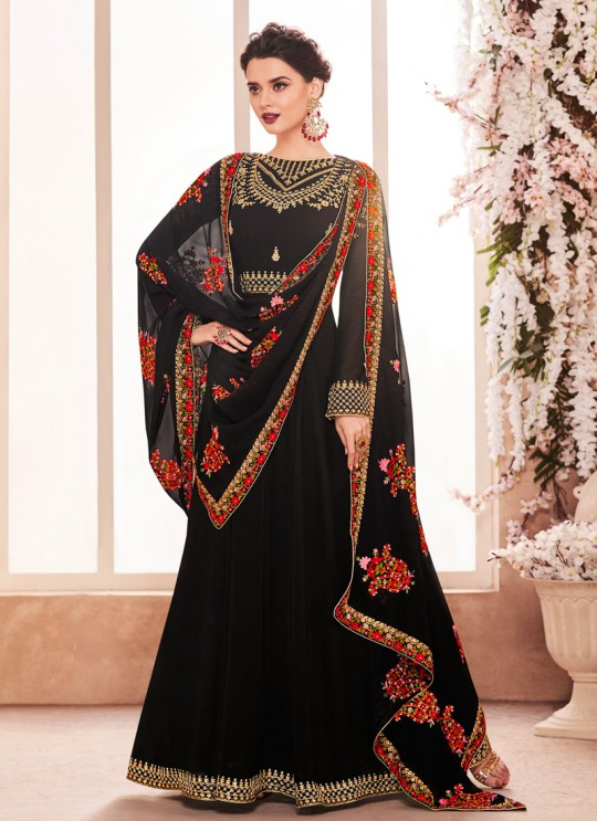 Georgette Ceremony Gown Style Anarkali In Black Color Kashmira 8125 SC/013139