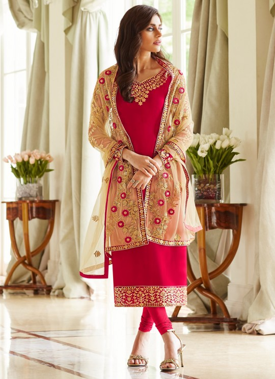 Red Georgette Embroidered Staight Cut Suits Mohra 7060 By Aashirwad  SC/016608